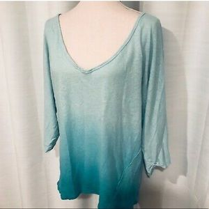 We the free ombré blue color dipped blouse size L